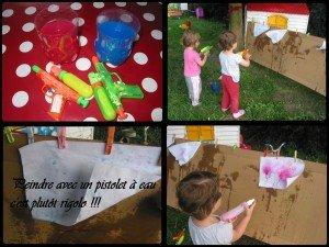 Peindre avec un pistolet à eau dans Les jum bricolent montage4images-300x225
