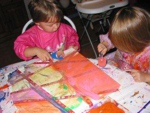 Peinture au rouleau : sur une toile dans Les jum bricolent 17juillet12peinturetableau-009-300x225
