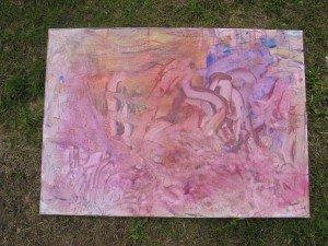 Peinture sur Toile : traces de mains et de pieds dans Apprendre en s'amusant 17juillet12peinturetableau-014-300x225